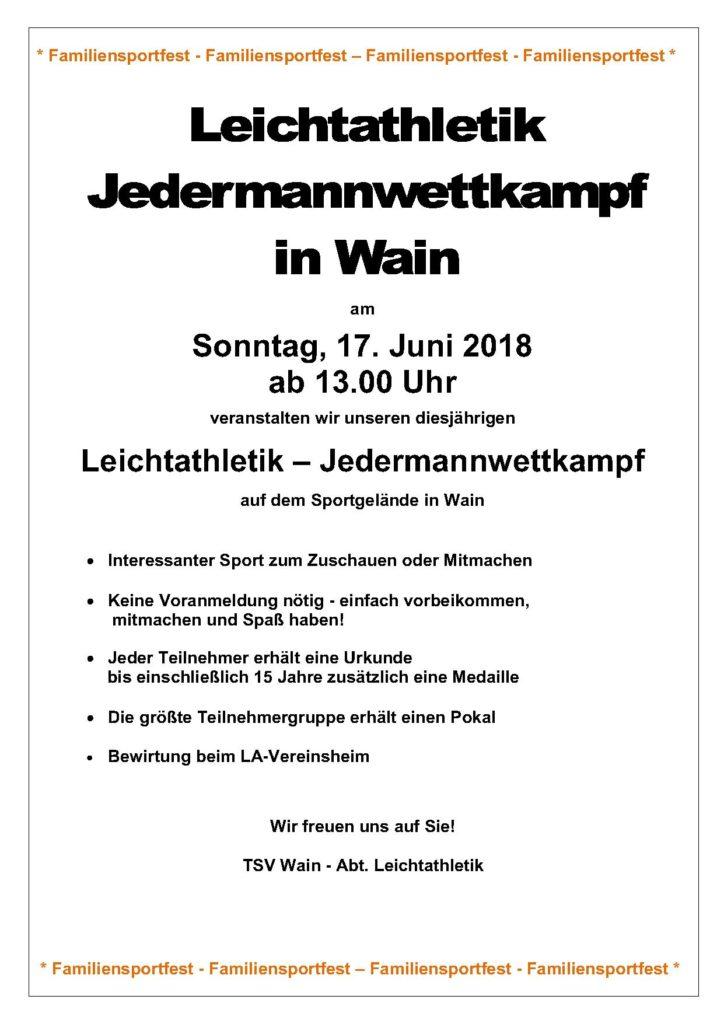 Leichtathletik – Jedermannwettkampf 2018 TSV-WAIN