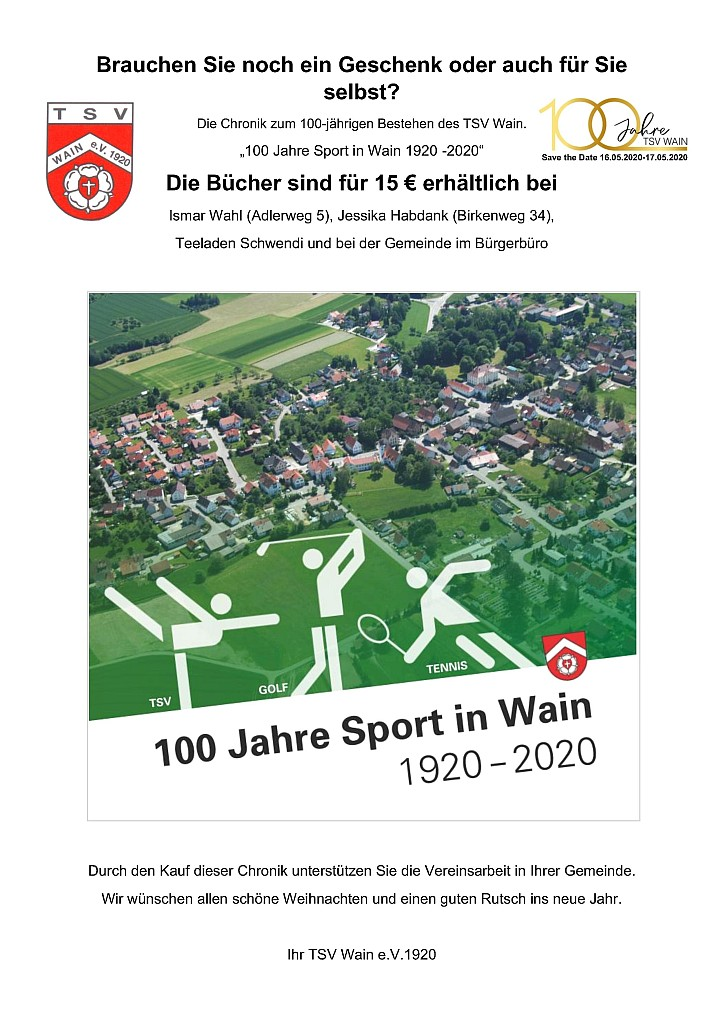 TSV-Wain Chronik 100Jahre TSV-Wain